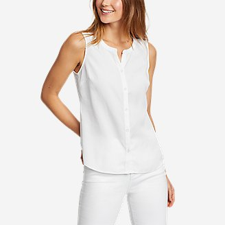 Thumbnail View 1 - Women's Magnolia Y-Neck Button-Down Tank Top - Solid