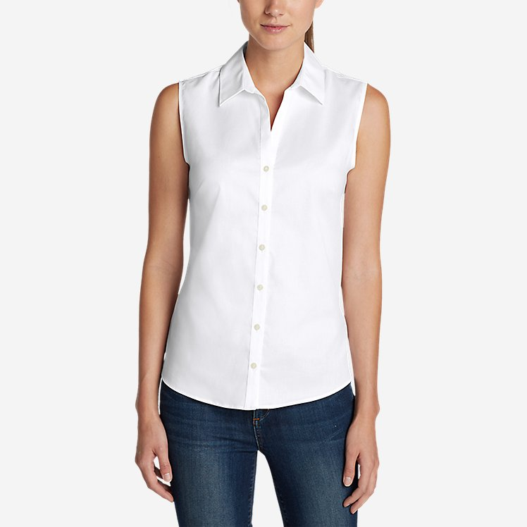 Women's Wrinkle-Free Sleeveless Shirt - Solid large version