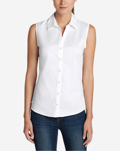 Women's Wrinkle Free Sleeveless Shirt   Solid by Eddie Bauer