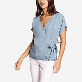 Thumbnail View 1 - Women's Tranquil Tie Short-Sleeve Shirt - Print
