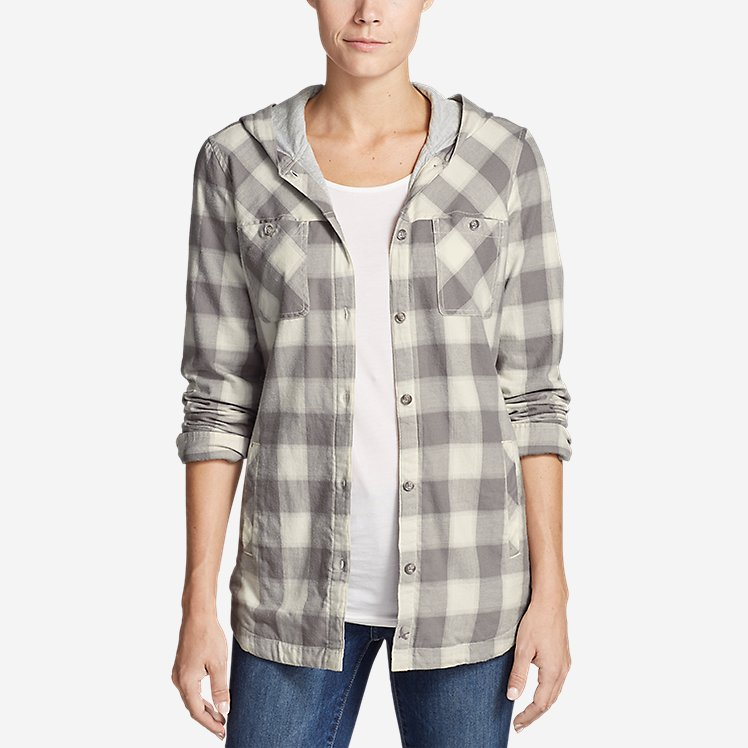 Women's Stine's Favorite Flannel Hooded Shirt Jacket large version