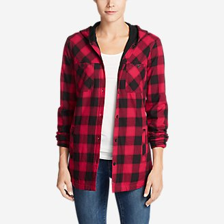 Thumbnail View 1 - Women's Stine's Favorite Flannel Hooded Shirt Jacket