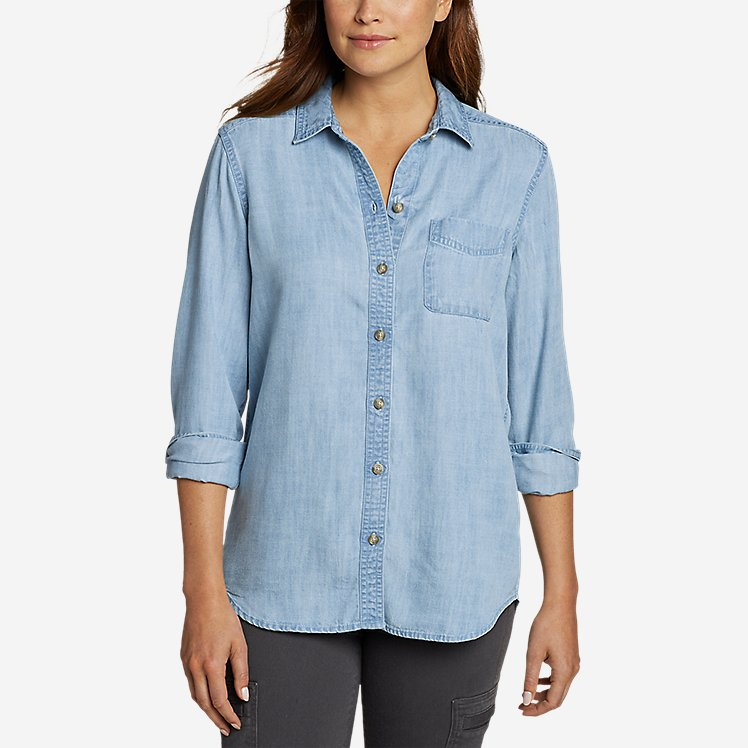 Women's Tranquil Boyfriend Shirt - Solid large version