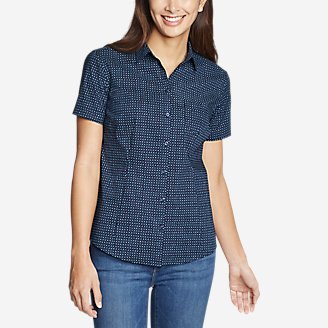 Thumbnail View 1 - Women's Wrinkle-Free Short-Sleeve Shirt - Print