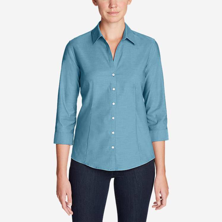 Women's Wrinkle-Free 3/4-Sleeve Shirt - Solid large version