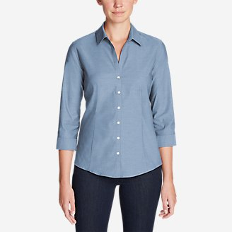Thumbnail View 1 - Women's Wrinkle-Free 3/4-Sleeve Shirt - Solid