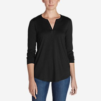 Thumbnail View 1 - Women's Gate Check Long-Sleeve Split-Neck Tunic