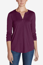Women's Gate Check Long-Sleeve Split-Neck Tunic