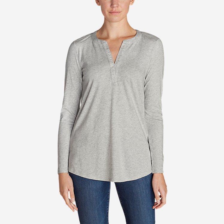 Women's Gate Check Long-Sleeve Split-Neck Tunic large version