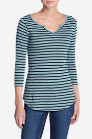 Women's Favorite Notched Neck 3/4-Sleeve Top - Stripe