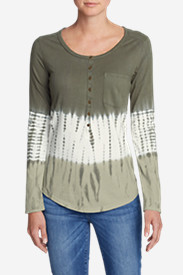Women's Gypsum Long-Sleeve Henley Shirt - Tie Dye