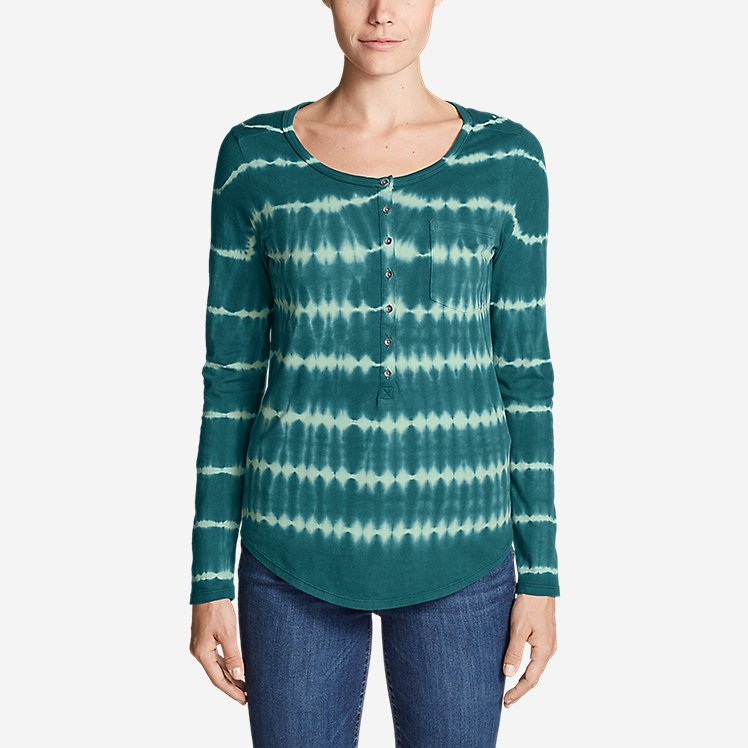 Women's Gypsum Long-Sleeve Henley Shirt - Tie Dye large version