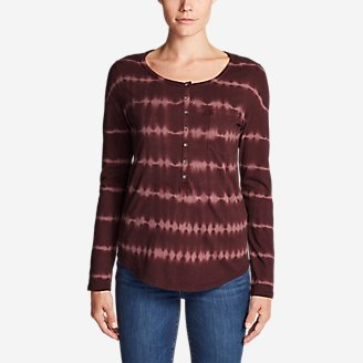 Thumbnail View 1 - Women's Gypsum Long-Sleeve Henley Shirt - Tie Dye