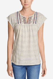 Women's Laurel Canyon Embroidered Top - Stripe