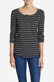 Women's Gypsum Long-Sleeve Henley Shirt - Stripe