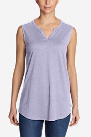 Women's Gate Check Sleeveless Split-Neck Tunic