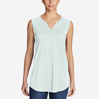 Thumbnail View 1 - Women's Gate Check Sleeveless Split-Neck Tunic