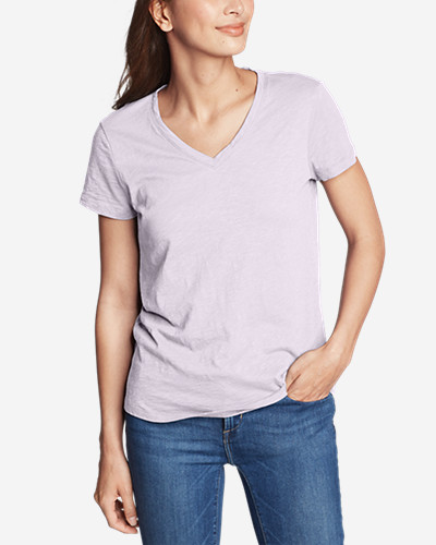 Women's Legend Wash Slub Short Sleeve V Neck T Shirt by Eddie Bauer