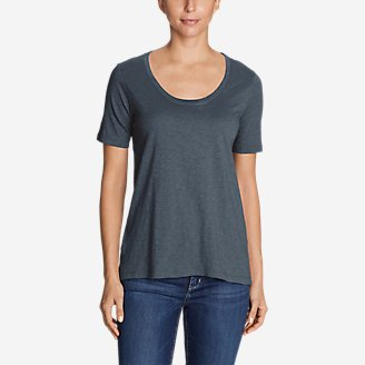Thumbnail View 1 - Women's Legend Wash Slub Short-Sleeve Scoop-Neck High-Low Top
