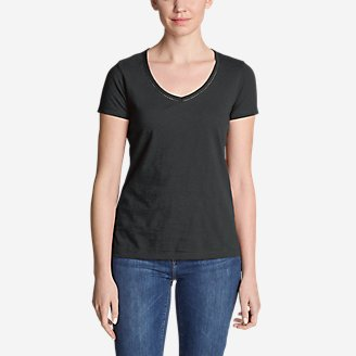 Thumbnail View 1 - Women's Ladder-Stitch Short-Sleeve V-Neck T-Shirt
