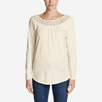 Thumbnail View 1 - Women's Lola Long-Sleeve Lace-Neck Top