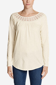 Women's Lola Long-Sleeve Lace-Neck Top