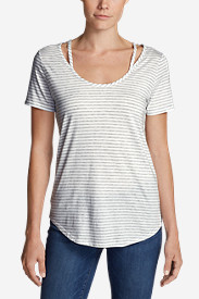 Women's Gate Check Short-Sleeve Scoop-Neck Top - Stripe