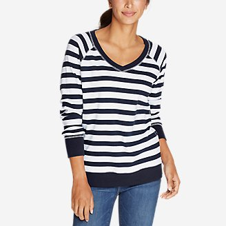 Thumbnail View 1 - Women's Legend Wash V-Neck Sweatshirt - Stripe