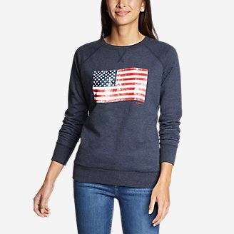 Thumbnail View 1 - Women's Camp Fleece Pullover Crew - USA