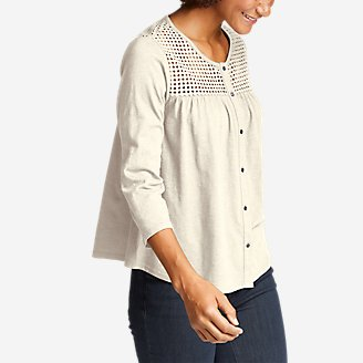 Thumbnail View 1 - Women's Lola 3/4-Sleeve Eyelet Button-Down Shirt