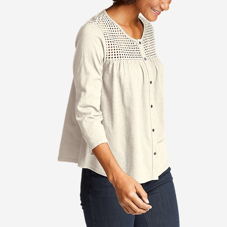 Women's Lola 3/4-Sleeve Eyelet Button-Down Shirt large version