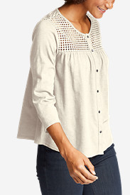 Women's Lola 3/4-Sleeve Eyelet Button-Down Shirt