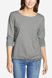 Women's Gate Check Long-Sleeve Drawstring Top