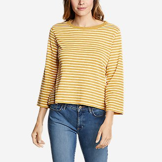 Thumbnail View 1 - Women's Favorite 3/4-Sleeve Crop Crew - Stripe