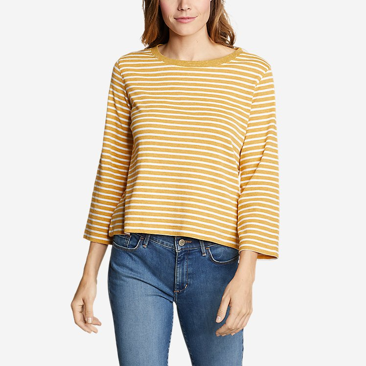 Women's Favorite 3/4-Sleeve Crop Crew - Stripe large version