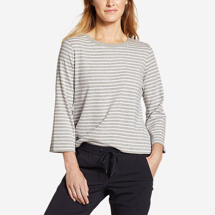 Women's Favorite 3/4-Sleeve Crop Crew - Stripe large version