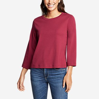 Thumbnail View 1 - Women's Favorite 3/4-Sleeve Easy Crew - Solid