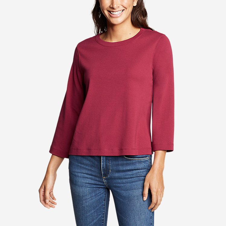 Women's Favorite 3/4-Sleeve Easy Crew - Solid large version