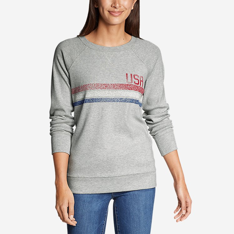 Women's Legend Wash Crew Sweatshirt - USA Stripe large version