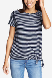 Women's Gate Check Short-Sleeve Side-Tie T-Shirt - Stripe