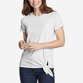 Thumbnail View 1 - Women's Gate Check Short-Sleeve Side-Tie T-Shirt - Stripe
