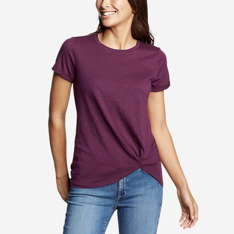 Women's Gate Check Short-Sleeve Twist-Front T-Shirt large version
