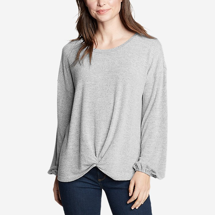 Women's Long-Sleeve Knotted-Front Shirt  large version