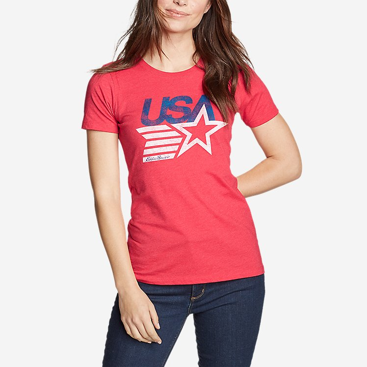 Women's Graphic T-Shirt - Retro USA Star large version