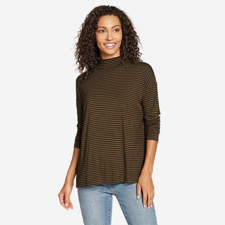 Women's Soft Layer Mock-Neck - Stripe large version