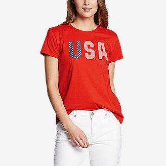 Thumbnail View 1 - Women's Graphic T-Shirt - USA Flag