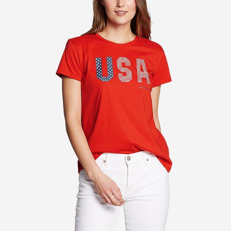 Women's Graphic T-Shirt - USA Flag large version