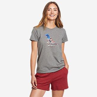 Thumbnail View 1 - Women's Graphic T-Shirt - Classic Flag Dog