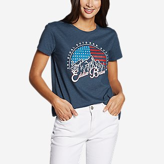 Thumbnail View 1 - Women's Graphic T-Shirt - Flag Sky