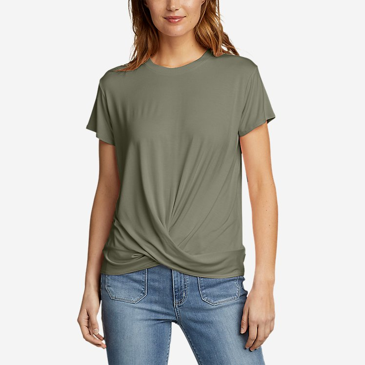 Women's Soft Layer Twist front Short sleeve Crew T shirt
